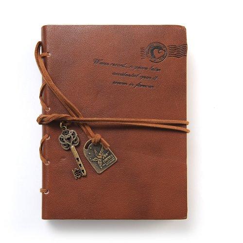 Aitao Journal Diary String Key Retro Vintage Classic Leather Bound Notebook Dark Coffee