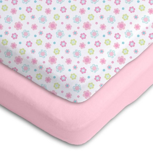 Gerber 2 Pack Cotton Knit Fitted Crib Sheets New Improved Fit Pink/White Daisy Design