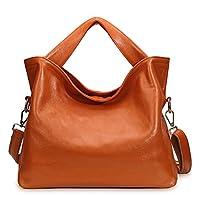 PASTE Women's Wrist Genuine Leather Totes/Shoulder Bag,Handbag Orange