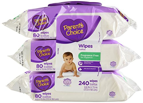 Parents Choice Baby Wipes, Fragrance Free, Quilted Soft, 240ct. - 1