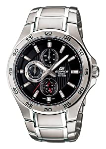 Stainless Steel Edifice Quartz Black Dial Day Date