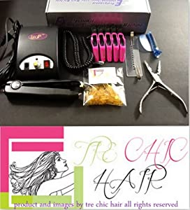 Tre Chic Hair Extension Iron Ultrasonic Loof Cold Fusion Professional Tool Kit