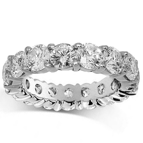 18K White Gold Womens Diamond Eternity Band 4.50