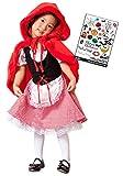 Cosjob子供用赤ずきん衣装ハロウィンタトゥーシールセット(A1294)キッズコスチューム子供用仮装コスプレイベントパーティー劇舞台発表会お誕生会タトゥーフェイスシールHalloweenケープ赤(XL130〜140)