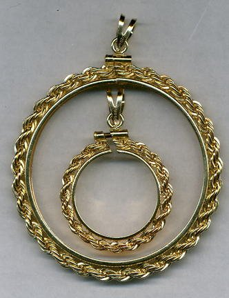Rope Style Gold Filled Coin Necklace Bezel / Pendant (Quarter Size)