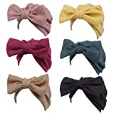 ML_Victor Baby Headbands Turban Hat Knotted, Baby Girls Soft Cute Turban Knot Big Bow Head Wrap Cap Beanie Pile Cap Hospital Hat For Children 3-8 Years Old (6pcs Set)