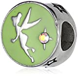 Disney Stainless Steel Tinkerbell Enamel Faith Trust Pixie Dust Bead Charm