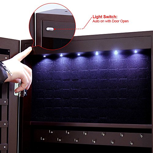 SONGMICS-Lockable-Jewelry-Cabinet-Standing-Jewelry-Armoire-Organizer-with-Mirror-LED-Light-Brown