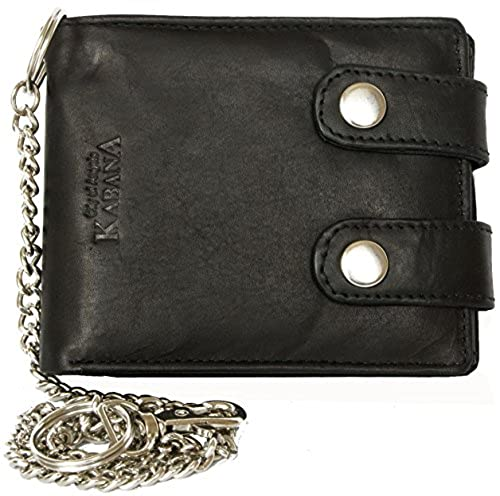 03. Men's Black Biker's Wallet Kabana with 45 Cm Long Metal Chain to Hang