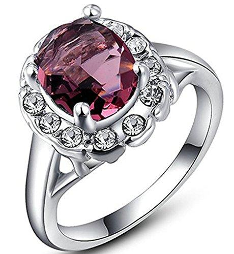 alimab-placcato oro 18K Donna Anelli Wedding Bands Rosso Cristallo Austriaco, Lega, 19,5, colore: Oro bianco, cod. xxjiezhityix1545