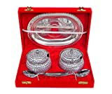 Rastogi Handicrafts Decorative Two Bowl Tray Serving Set ! Studded work (Bowl capacity 200 ml each )