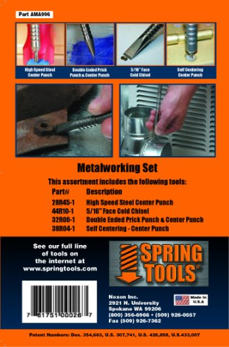 SpringTools AMA996 4 Piece Metalworking Set with High Speed Steel Center Punch, Self Centering Center Punch, 5/16-Inch Cold Chisel, Combination Prick Punch & Center Punch. (Spring Tools compare prices)