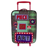 Room Seven Piece Of Art Boy Trolley. Green Wheeled Carry-on Kids Luggage, Boys Rolling Upright Suitcase.