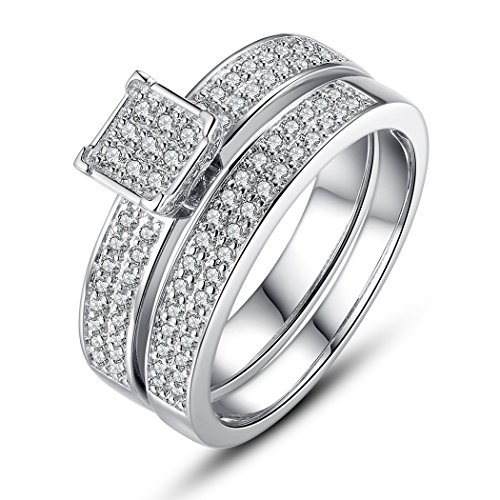 Bamoer Fashion Men'S Womens Set Of 2 White Gold Plated Brass Inlay Cubic Zircon Engagement Ring
