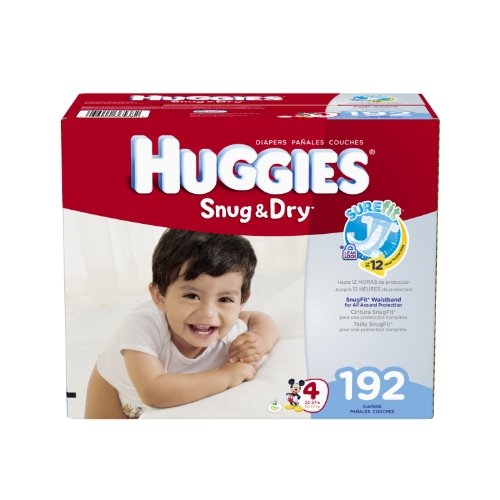 515TH3P3myL Huggies Snug and Dry Diapers, Size 4, Economy Plus Pack, 192 Count