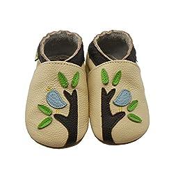 Sayoyo Baby Bird & Tree Soft Sole Leather Infant Toddler Prewalker Shoes (Beige, 24-36 months)
