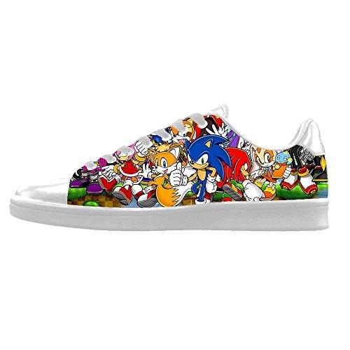 TH@MM Custom Cartoon Sonic The Hedgehog Sneaker Canvas Shoes for Men (Sonic The Hedgehog Sneakers)