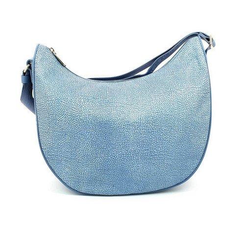 Borsa bag Borbonese 934547 mezzaluna media tracolla azzurro light sky blue