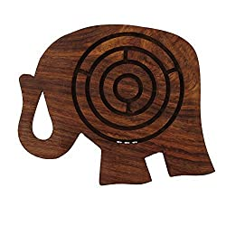 Handcrafted Labyrinth Board Game Wooden Elephant - 5 inches with FREE Hexagon...