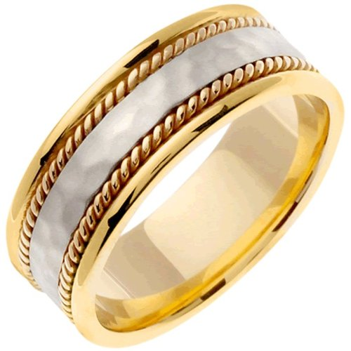 Two Tone Platinun And 18K Gold Men'S Braided Rope Edge Hammered Finish Wedding Band (8Mm) Size-10