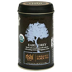 Rishi Tea Organic Black Tea, Earl Grey Loose Tea, 3.3-Ounce Tin (Pack of 3)