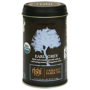 Rishi Tea Organic Black Tea, Earl Grey Loose Tea, 3.3-Ounce Tin (Pack of 3)
