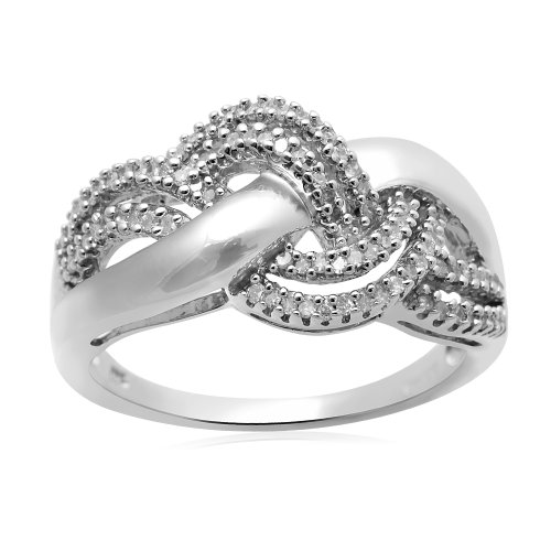 Sterling Silver Diamond Twist Ring (1/4 cttw, I-J Color, I3 Clarity), Size 7