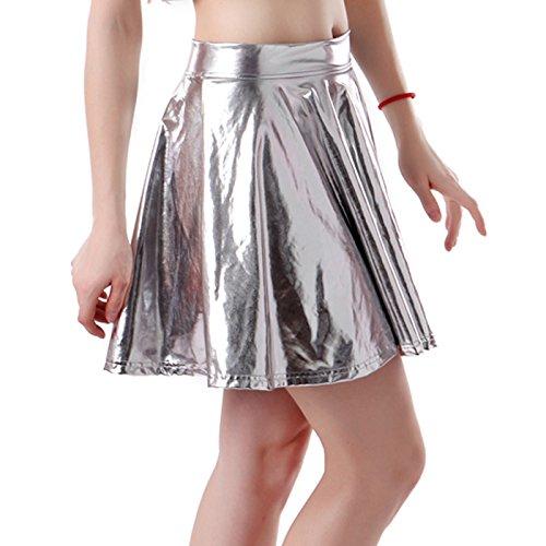 hde-womens-shiny-liquid-metallic-wet-look-flared-pleated-skater-skirt-silver-medium