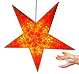 Hanging star lantern without lights - 5 point paper star Yellow /Red