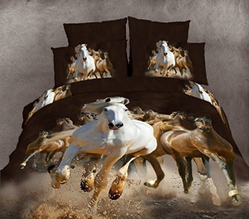 Joybuy Horse Gallop Bedding Sets,animal Print Comforter Set,3d Oil Painting Duvet Cover Set,4pcs