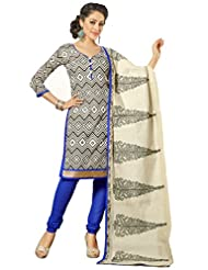 Surat Tex Black Color Embroidered Chanderi Cotton Un-Stitched Dress Material