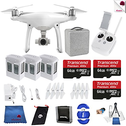 DJI Phantom 4 Extra Battery and Memory Bundle Includes: DJI Phantom 4 Drone + 3 Batteries (total) + 3 Transcend 64 GB Memory Card + Controller + Foam Case + More
