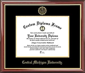 Buy Central Michigan University Chippewas - Embossed Seal - Mahogany Gold Trim - Diploma Frame by Laminated Visuals