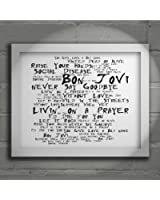 `Noir Paranoiac` Art Print - BON JOVI - Slippery When Wet - Signed & Numbered Limited Edition Typography Unframed 10x8 Inch Album Wall Art Print - Song Lyrics Mini Poster