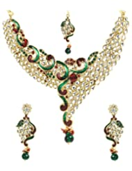 Shining Diva Wavy Enamelled Kundan Necklace Set With Maang-Tika For Women