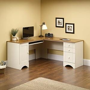 Corner Computer Desk Workstation & Hutch - Antiqued Finish