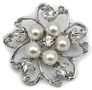 Elixir77UK Silver Colour Flower Bouquet Gift Pin Brooch With Faux Pearl and Plain Crystal UK SELLER