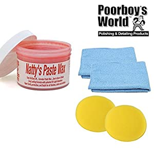 Poorboys Nattys Carnauba Paste Wax Red 8oz + 2 Free Cloths & Pads