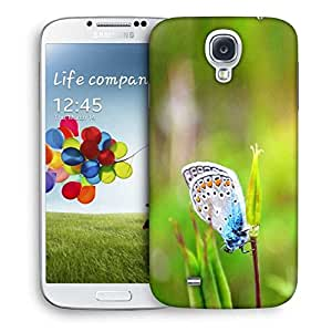Snoogg Mixed Color Butterfly In Green Petal Designer Protective Phone Back Case Cover For Samsung Galaxy S4