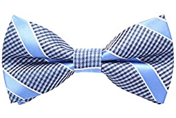 Flora&Fred Handmade Jacquard Woven Designer Plaid and Striped Bow Tie Blue
