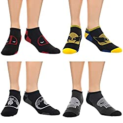 Official Adult Marvel Super Heros Active Ankle Sport Socks Set - 4 Pairs