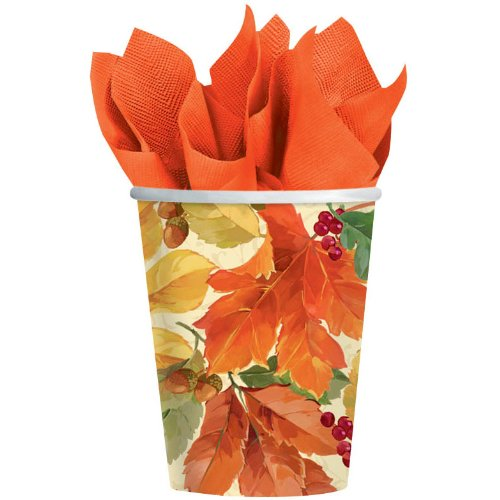 Elegant Leaves Paper Cups 8ct