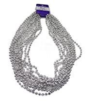 WeGlow International 7mm Bead Necklace – Silver (36 pieces)