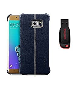 Mobimax Vorson Lexza Series Double Stitch Leather Shell with Metallic Logo Display Back Cover For Samsung Galaxy S7 Edge-Blue With Sandisk Pen Drive 8GB