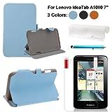 Foxnovo 4-in-1 PU Flip Case Screen Guard Stylus Pen Cloth Set for Lenovo IdeaTab A1000 7-inch Tablet PC (Sky-blue)