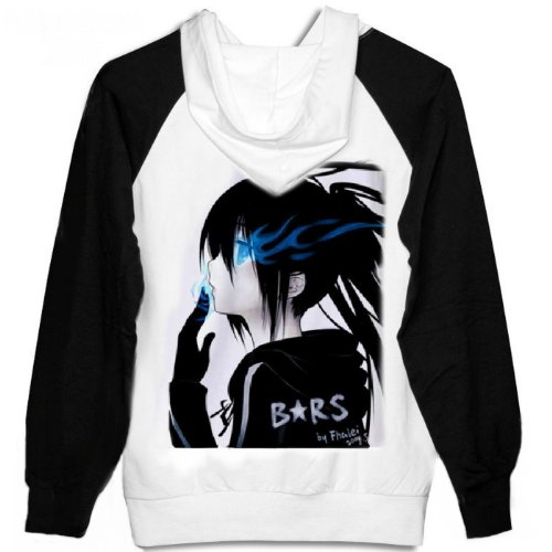 BRS Black Rock Shooter Cosplay Costume Anime Black White Hoodie Size L