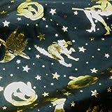 Black Satin Fabric with Multi Halloween Gold Foil Print Per Metre