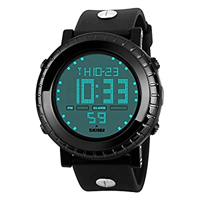 ALPS Men's S-Shock Multi Function Digital Waterproof LED Sport Watch (Black)