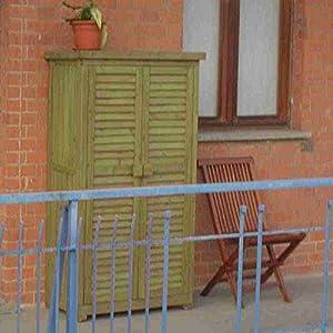 Armoire exterieur de rangement pour terrasse et jardin en bois 87x46x160 soli - Rangement pour terrasse ...