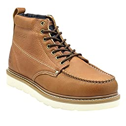 King Rocks Moc Toe PU Work Boots for Men (9 D(M) US, Brown)